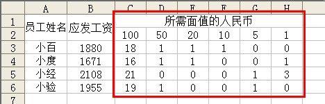 Excel怎样计算发放工资时所需各面值人民币张数